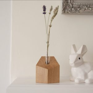 Style and panache solid oak geometric testing vase
